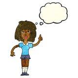 starke Frau der Karikatur mit Idee mit Gedankenblase Stockfoto
