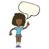 starke Frau der Karikatur mit Idee mit Spracheblase Lizenzfreie Stockbilder