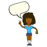 starke Frau der Karikatur mit Idee mit Spracheblase Stockfotografie