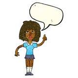 starke Frau der Karikatur mit Idee mit Spracheblase Stockbilder