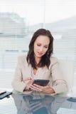 Starke Geschäftsfrau, die an ihrem Tabletten-PC arbeitet Stockbilder