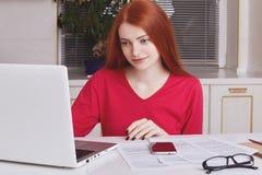 Starke redhaired weibliche Modellarbeiten am Geschäftsbericht, macht Diagramme und Entwürfe auf Laptop commputer, Kontrollzahlen  lizenzfreies stockbild