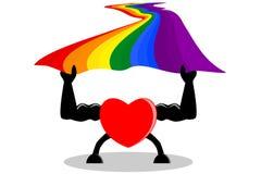 Starke rote Herzholdingregenbogen-Stolzflagge Konzepte der Unterstützung LGBT oder LGBTQ, der Liebe, der Valentinsgrüße, des usw. lizenzfreie abbildung