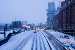 Starke Schneefälle in Birmingham, Vereinigtes Königreich stockfotografie
