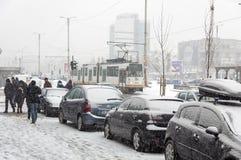 Starke Schneefälle in Bucharest Lizenzfreie Stockfotos