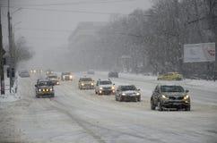 Starke Schneefälle in Bukarest