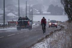 Starke Schneefälle in den schottischen Hochländern und in viel Großbritanniens Stockfotografie
