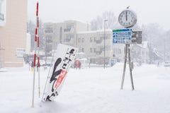 Starke Schneefälle in der Stadt von Sapporo, Hokkaido, Japan Stockfotografie