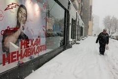 Starke Schneefälle in Kiew, Ukraine, am 5. Februar 2015 Lizenzfreie Stockbilder