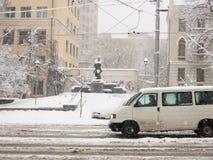 Starke Schneefälle in Kiew, Ukraine, am 5. Februar 2015 Stockbild
