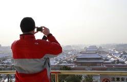 Starke Schneefälle schlagen Peking Lizenzfreie Stockfotos