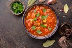 Starke Tomatensuppe mit Fleisch, Getreide und Gem?se Traditionelle orientalische K?che, w?rziges Eintopfgericht mit Rindfleisch o lizenzfreies stockbild