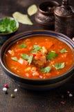 Starke Tomatensuppe mit Fleisch, Getreide und Gem?se Traditionelle orientalische K?che, w?rziges Eintopfgericht mit Rindfleisch o stockfotos