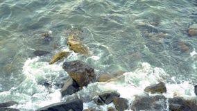 Starke Wellen, die das Ufer zerquetschen stock footage
