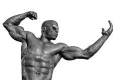 Starker Bodybuildermann mit perfekter ABS, Schultern, Bizeps, Trizeps und Kasten Stockbild