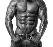 Starker Bodybuildermann mit perfekter ABS, Schultern, Bizeps, Trizeps und Kasten Stockfotos
