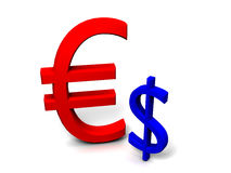 starker Euro 3D gegen schwachen Dollar vektor abbildung