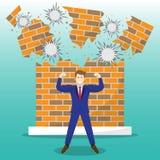Starker Geschäftsmann In Front Of Breaking Brick Wall stock abbildung