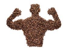 Starker Kaffee-Mann zeigt die Muskeln, die auf weißem Hintergrund lokalisiert werden stockfoto