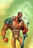 Starker Krieger mit einer Klinge Stockfoto