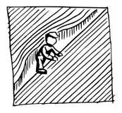 Starker männlicher Bergsteiger in der schwierigen Herausforderung während des Seilfelsensteigens vektor abbildung
