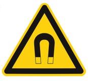 Starker Magnetfeld-Warnzeichen-lokalisierter Aufkleber, Gefahrensicherheits-Vorsicht-Aufmerksamkeits-Gefahrenrisiko-Konzept, gelb lizenzfreie stockbilder
