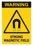 Starker Magnetfeld-Warnzeichen-lokalisierter Text-Aufkleber, Gefahrensicherheits-Vorsicht-Aufmerksamkeits-Gefahrenrisiko-Konzept, lizenzfreie stockfotografie