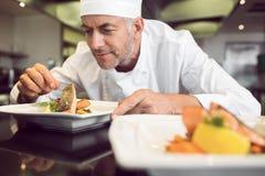 Starker männlicher Chef, der Lebensmittel in der Küche schmückt Lizenzfreie Stockfotos