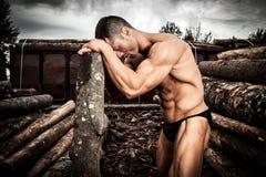 Starker muskulöser Mann stockfotografie