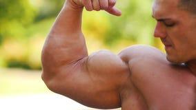 Starker muskulöser Mannathlet, der seine großen bicepses zeigt stock video footage
