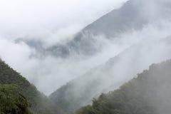 Starker Nebel auf dem Aufstieg lizenzfreie stockfotos