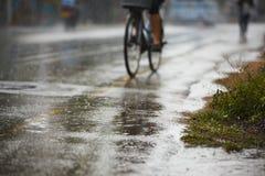 Starker Regen auf der Straße Lizenzfreie Stockfotos