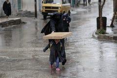 Starker Regen in Gaza, Palästina stockfoto