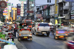 Starker Verkehr in Chinatown, Bangkok lizenzfreies stockbild