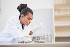 Starker Wissenschaftler, der Reagenzglas analysiert Stockfotos