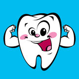 Starker Zahncharakter der glücklichen netten Karikatur, der eine Energiegeste macht Stockbilder