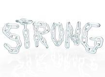 Starkes Kettenlink-Wort bezeichnet Metallketten mit Buchstaben Stockfotografie