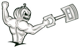 Starkes muskulöses Kürbis-Monster, das großen Kolben-Karikatur-Charaban hält Stockfoto