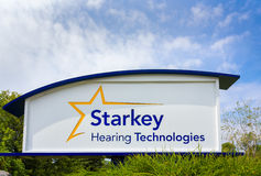 Starkey Hearing Technologies Headquarters and Sign. EDEN PRAIRIE, MN/USA - August 13, 2015: Starkey Hearing Technologies headquarters and Sign. Starkey Hearing Stock Photos