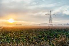 Starkstromleitungen und Masten bei Sonnenuntergang Lizenzfreie Stockfotos