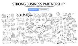 Starkt affärspartnerskapbegrepp med klotterdesignstil vektor illustrationer