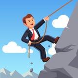 Starkt berg för klättring för affärsman med repet stock illustrationer