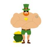 Starkt troll Kraftigt stort troll i grön hatt royaltyfri illustrationer