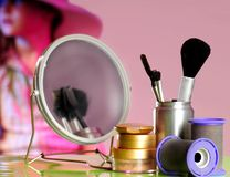 Starlet on Stage. Young actress on stage behind makeup area Stock Images