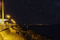 seafront with starry sky Royalty Free Stock Photo
