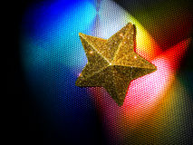 Starlights. Yellow Star on colored steel background Stock Images