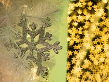 starlike bokeh behind the snowflake decoration of christmas moment where the happiness is here. Merry Christmas stock image