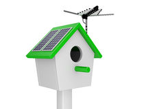 Starling house with theantenna and solar batteries Stock Image