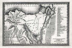 1835 Starling Map of The Journeys and Encampments of the Israelites from Egypt to Canaan Stock Photos