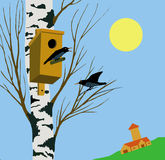 Starling on tree. Vector illustration starling on tree Royalty Free Stock Photos